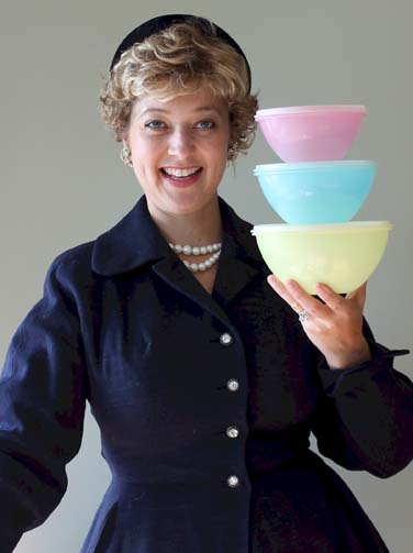 Brownie Wise Tupperware blue dress hat pearls burping bowls Leslie Goddard